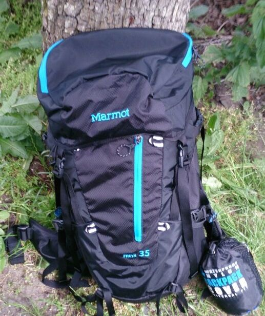 Christine's 35L pack, and her rain cover.