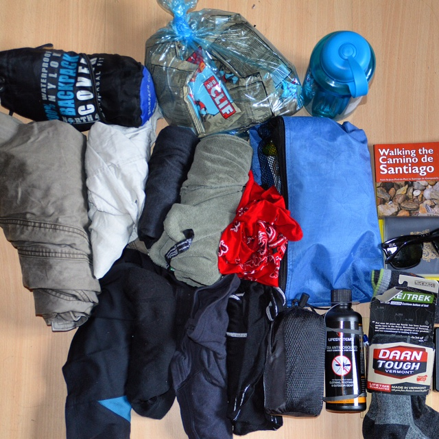My Camino gear...including 1kg of Clif Bars.