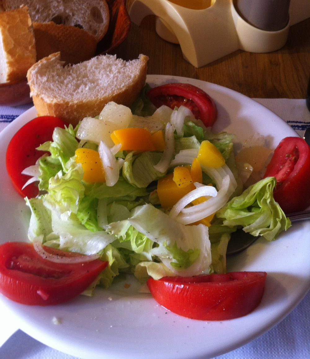 A Pilgrim Menu salad, cheese free!