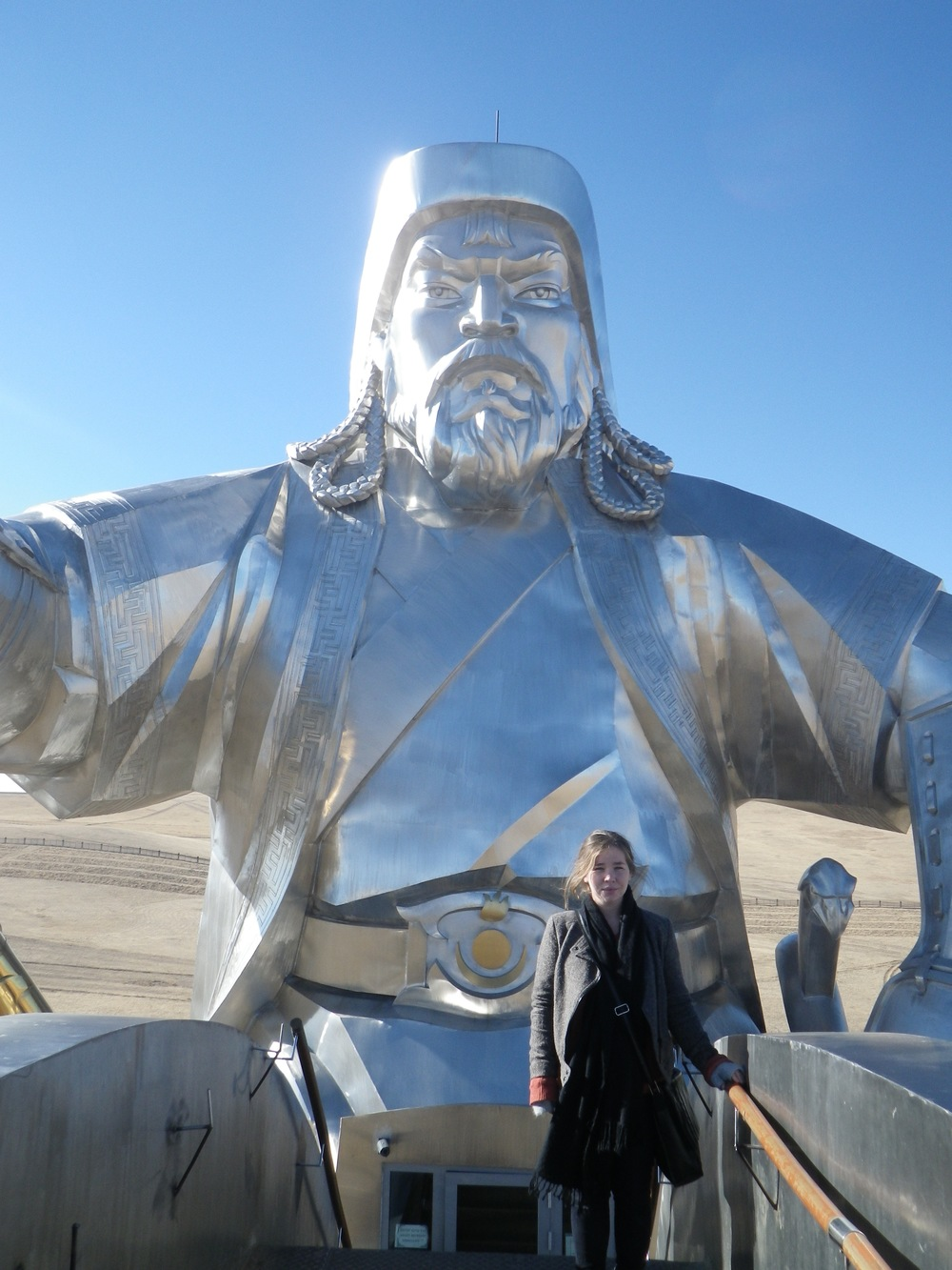 Budget travel in Mongolia. Backpacking Mongolia. Road trip in Mongolia. Chinggis Khan Statue in Mongolia.