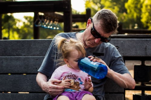 MY DAD AND SLOAN TAKING A BREAK AT THE PARK