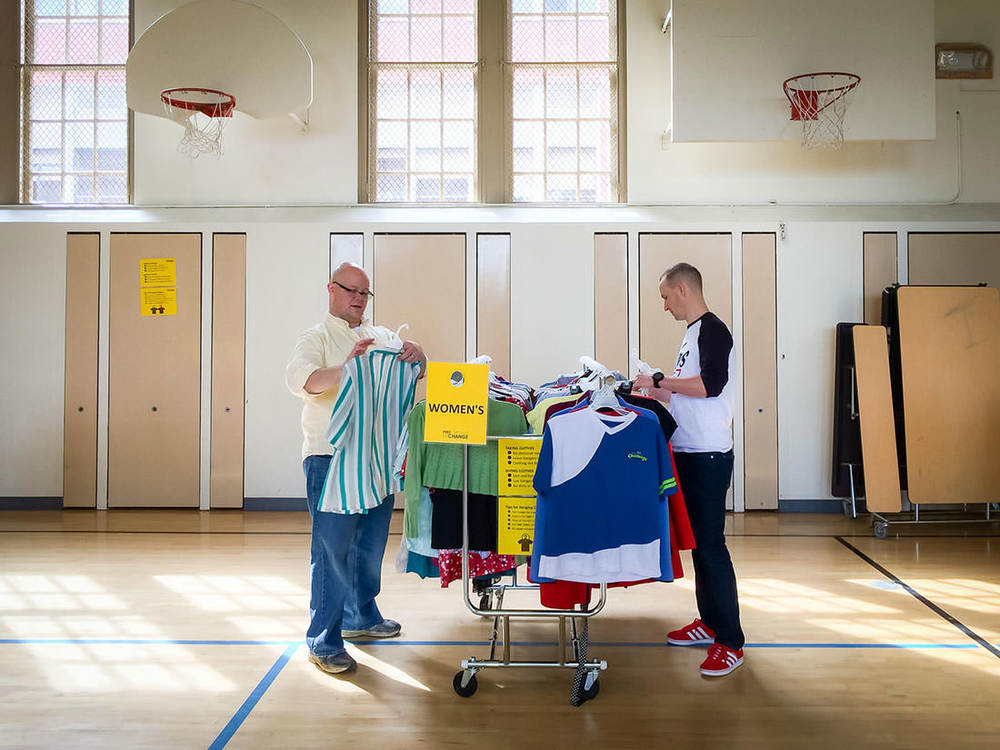 Free Clothing Exchange volunteers, Heath & Steve, help sort and hang clothes before the Spring 2015 Exchange. The Free Clothing Exchange is completely volunteer run. We'd love your help. If you'd like to volunteer let us know at our next Exchange, or drop us a line using the  Contact Form  on this website.