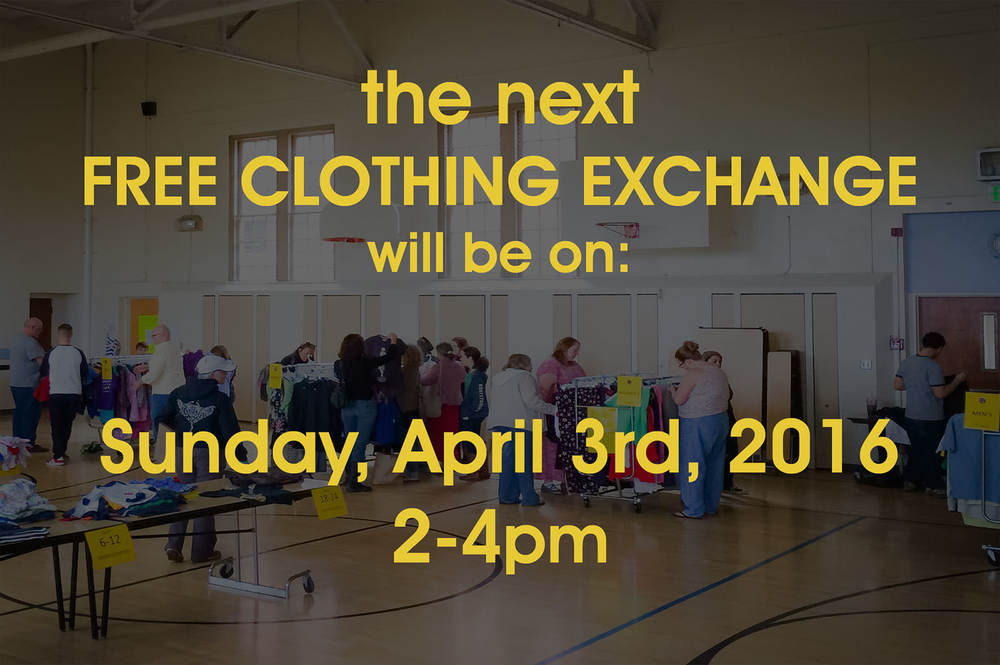 After nearly a year on hiatus we're super, super,super happy to announce that the Free Clothing Exchange is back, baby. Join us  Sunday, April 3rd, 2016 from 2-4pm  in the gym at De La Salle North for the FCE's relaunch.