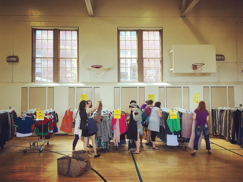 The Free Clothing Exchange is held quarterly in North Portland.