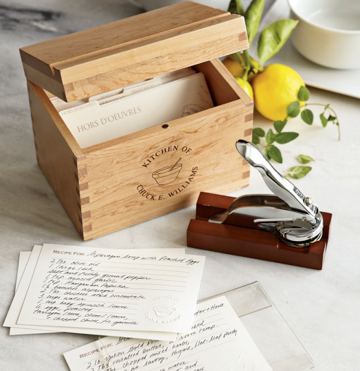 Williams Sonoma  Personalized Recipe Gift Set with Embosser  $70