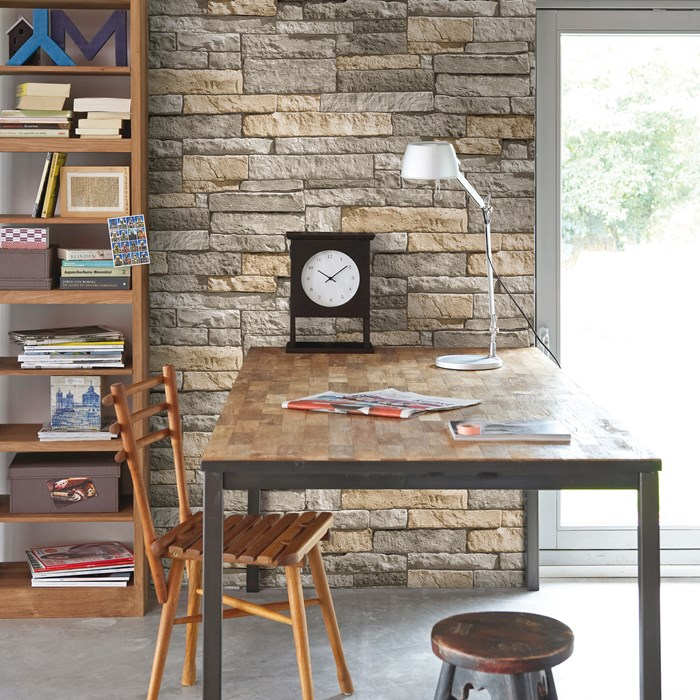 Graham & Brown -  Ledgestone Grey  $32.50/roll