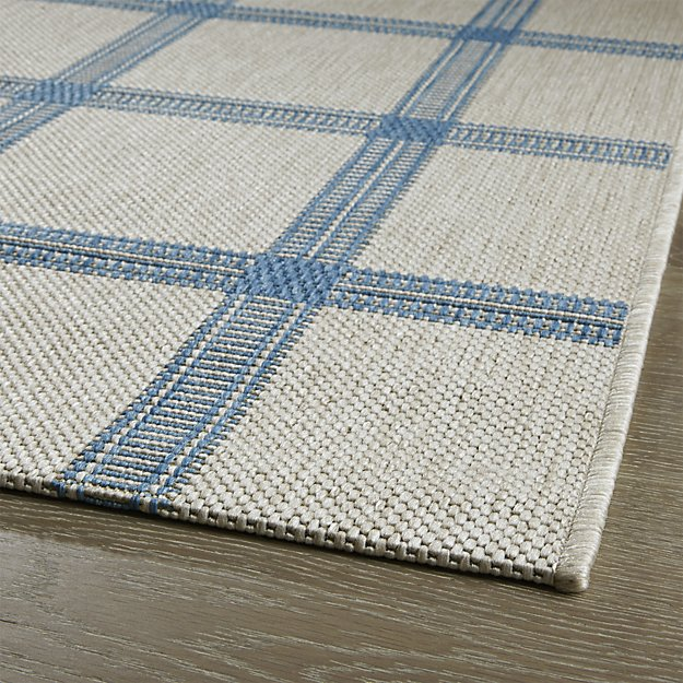 Crate & Barrel - Koen Grid Sky Blue Indoor-Outdoor Rug $30-300