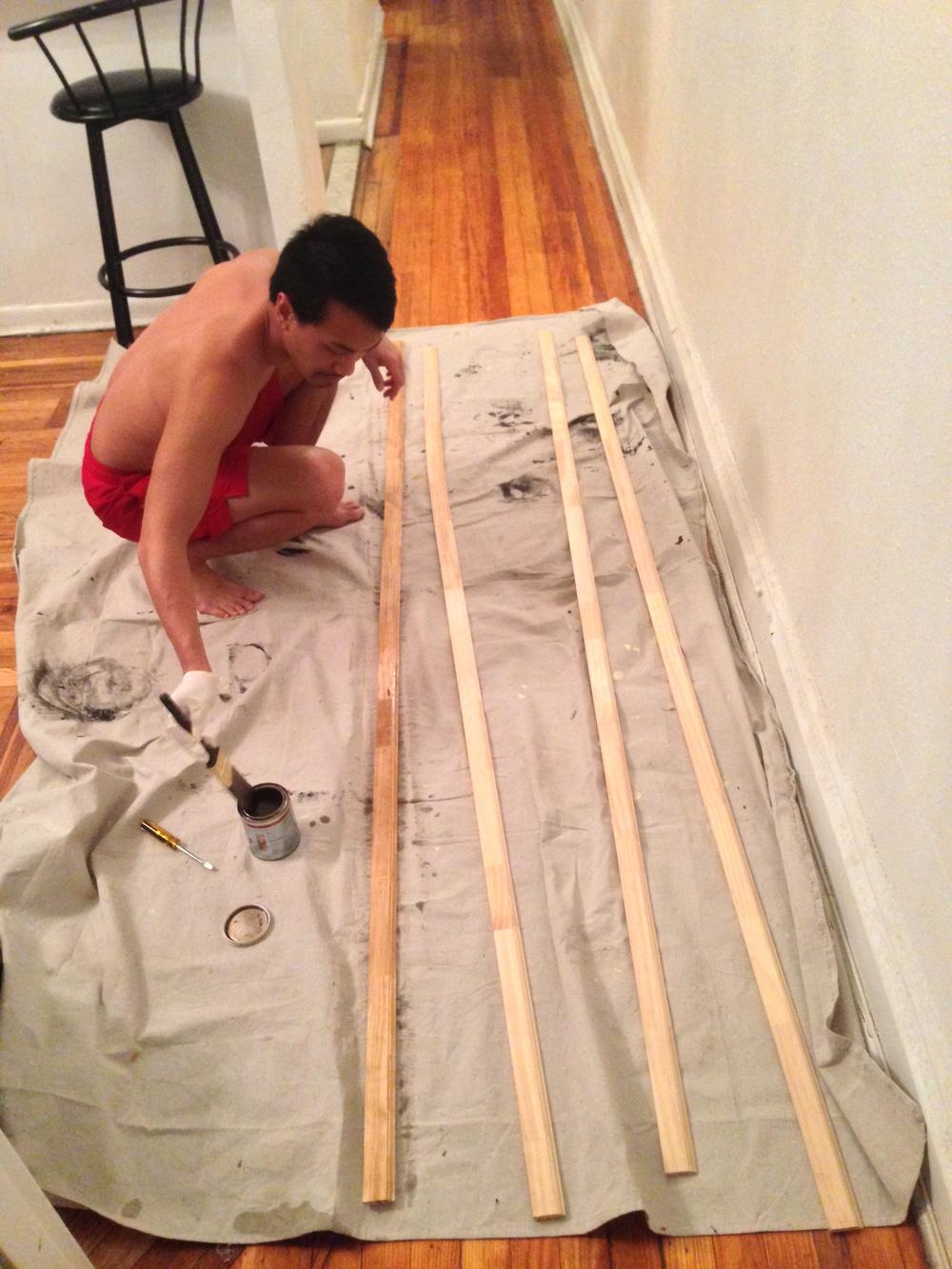 Kenway Hon Wai Kua lends a hand of building the set.