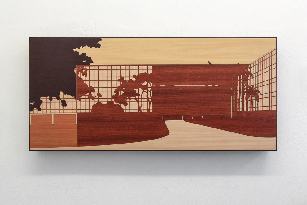 Brazilian Landscape 1 • 2013/2014 • Laser cut melamine laminate (Formica) • 25 x 55.3 in • Instituto Figueiredo Ferraz Collection, Ribeirão Preto