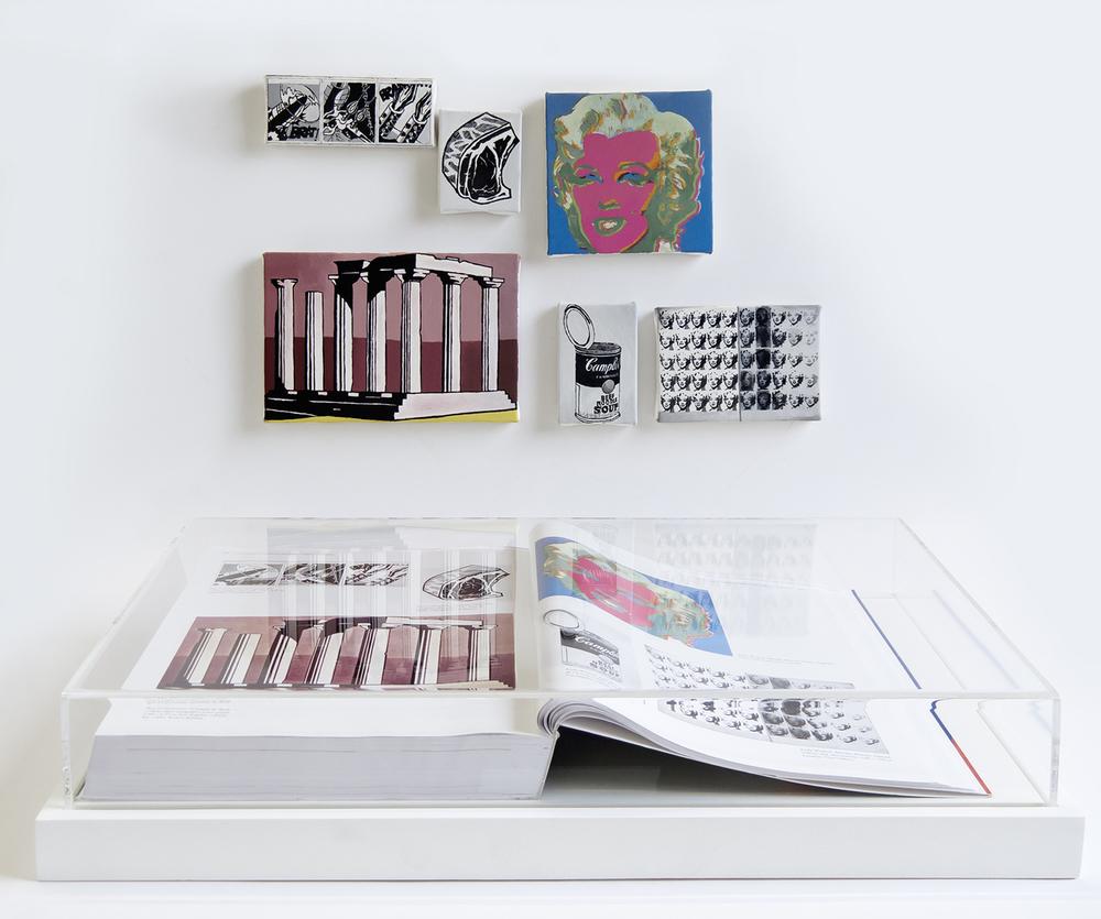 Páginas 648 e 649 (Série Foi Assim Que Me Ensinaram) • 2012 •Livro emoldurado, óleo sobre tela •31,5 x 46,5 cm (livro), 11,5 x 11,5 cm; 11,5 x 17,5 cm; 8 x 11,5cm; 5,5 x 7 cm; 8,5 x 6 cm; 4,5 x 11,5 cm Coleção Museu de Arte Contemporânea - São Paulo