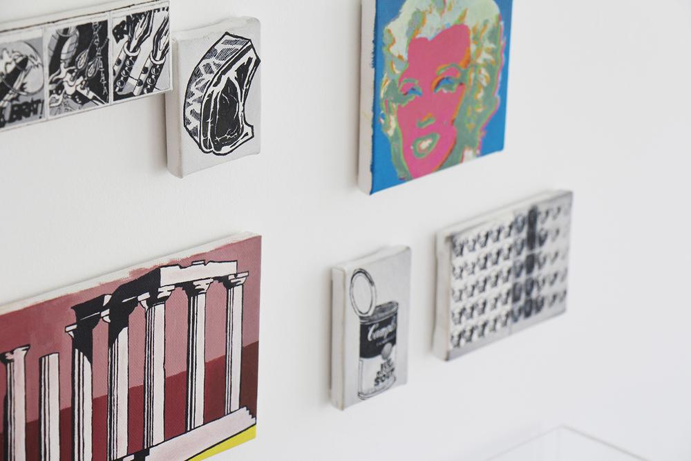 Páginas 648 e 649 (Série Foi Assim Que Me Ensinaram) (detalhe) • 2012 •Livro emoldurado, óleo sobre tela •31,5 x 46,5 cm (livro), 11,5 x 11,5 cm; 11,5 x 17,5 cm; 8 x 11,5 cm; 5,5 x 7 cm; 8,5 x 6 cm; 4,5 x 11,5 cm •Coleção Museu de Arte Contemporânea - São Paulo
