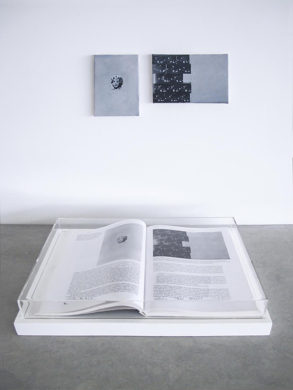 Páginas 80 e 81 (sérieFoiAssimQueMeEnsinaram) •2013 •Livro emoldurado, óleo sobre tela •29 x 43 cm (livro), 13 x 9 cm, 10 x 15,5 cm