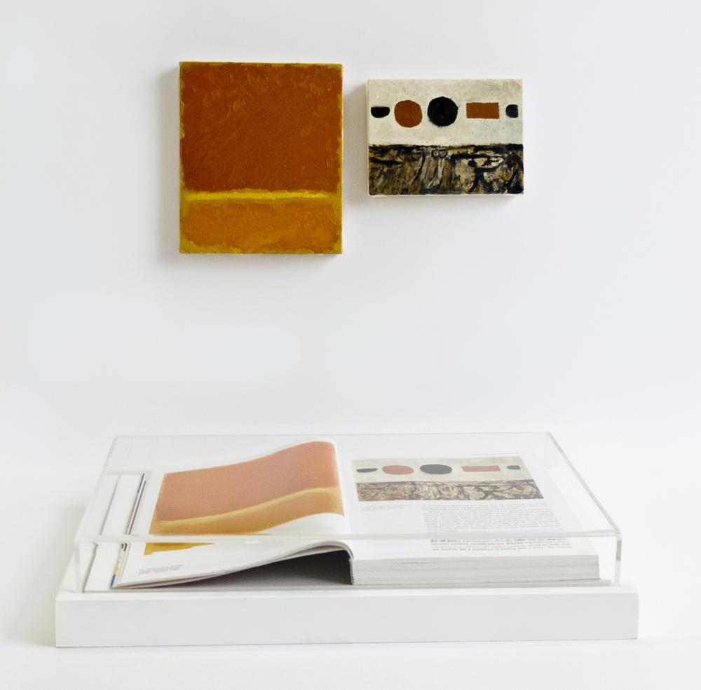 Páginas 24 e 25 (série Foi Assim Que Me Ensinaram) •2012 • Livro emoldurado, óleo sobre tela