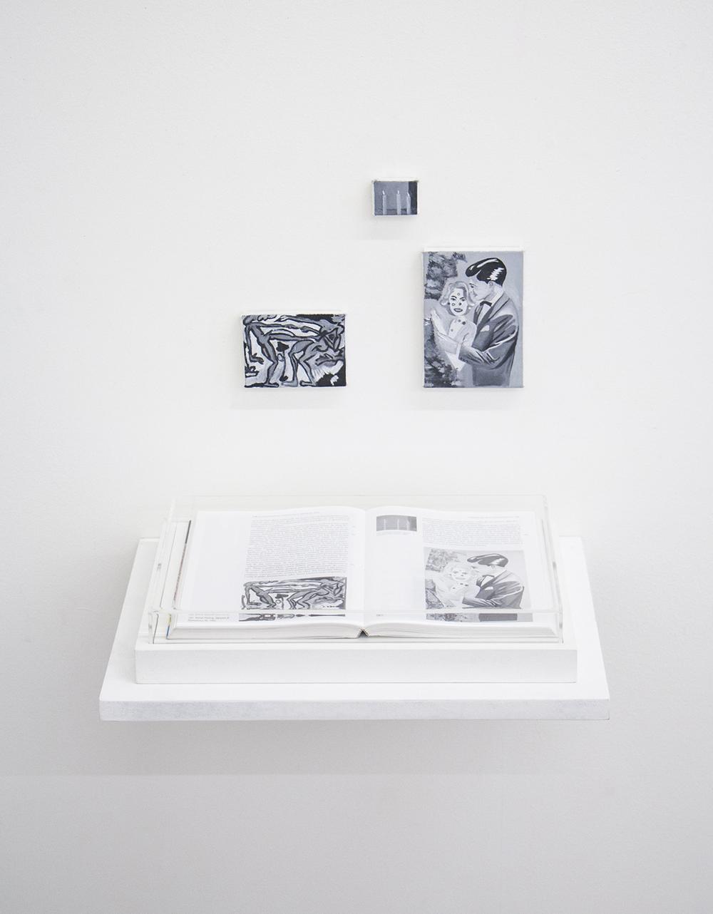 Páginas 176 e 177 (série Foi Assim Que Me Ensinaram) •2014• Livro emoldurado, óleo sobre tela •21,5 x 31 cm (livro), 8,5 x 6,2 cm, 3,5 x 2.9 cm, 8,5 x 12 cm