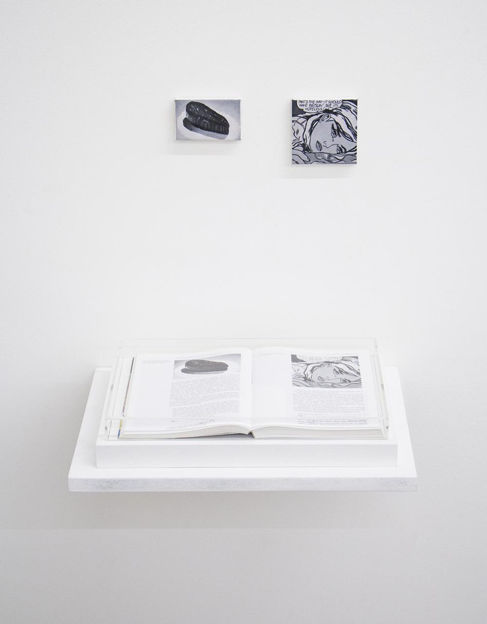 Páginas 116 e 117 (série Foi Assim Que Me Ensinaram) •2014 •Livro emoldurado, óleo sobre tela •21,5 x 31 cm (livro), 8,4 x 5,3 cm, 8,5 x 8,6 cm