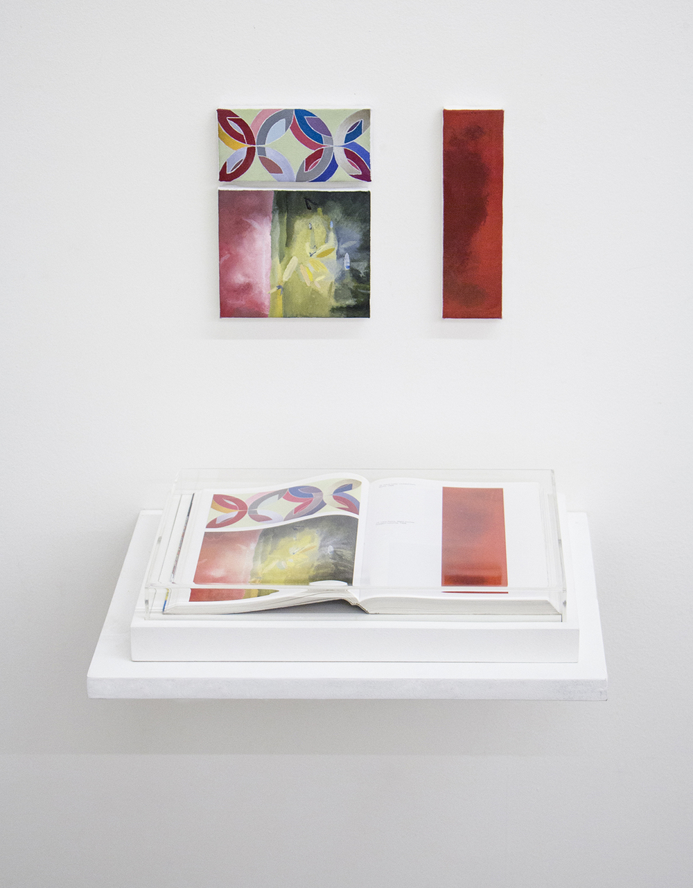 Unnumbered  Pages (That's How I Was Taught series  )  • 2014 •  Framed book, oil on canvas •  8.45 x 12.2 in (book), 5.1 x 2.55 in, 5.1 x 4.3 in, 2 x 7.3 in