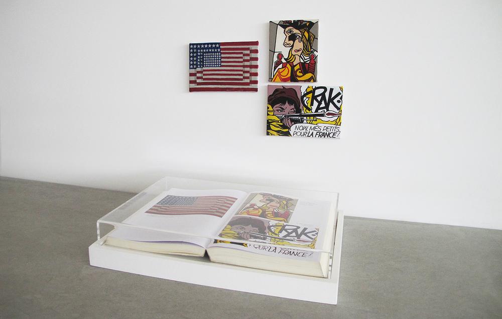 Páginas Sem Número (Série Foi Assim Que Me Ensinaram)• 2013 •Livro emoldurado, óleo sobre tela •26,5 x 36 cm (livro), 9,5 x 14 cm, 10,5 x 14 cm 11,5 x 9,5 cm