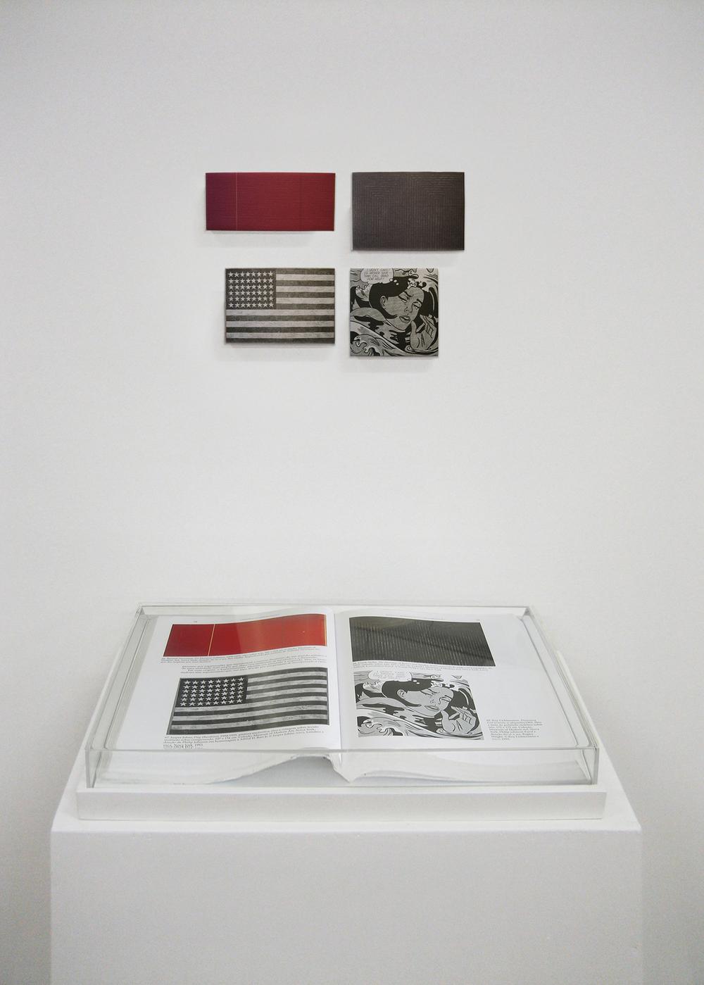 Páginas 78 e 79 (série Foi Assim Que Me Ensinaram) •2005 • Livro emoldurado, óleo sobre tela• 26,5 x 40 cm (livro), 5,5 x 12 cm, 10 x 14 cm, 9,5 x 14 cm, 10,5 x 10,5 cm