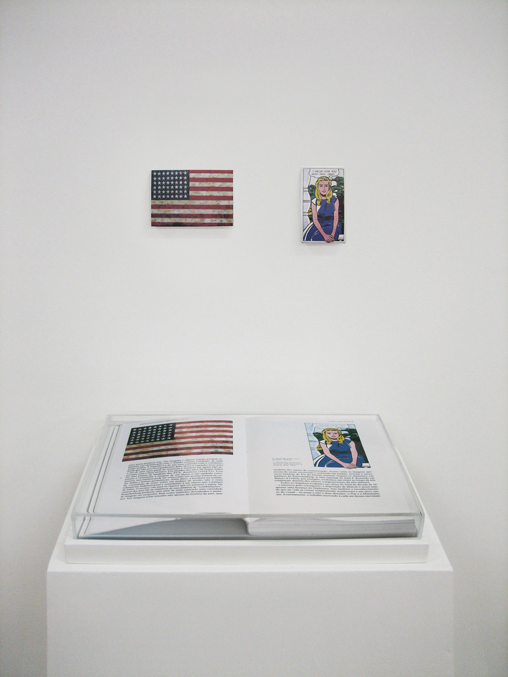 Páginas 4 e 5 (série Foi Assim Que Me Ensinaram) •2005 • Livro emoldurado, óleo sobre tela •21,5 x 31 cm (livro), 12,5 x 8,5 cm, 6,4 x 11,5 cm