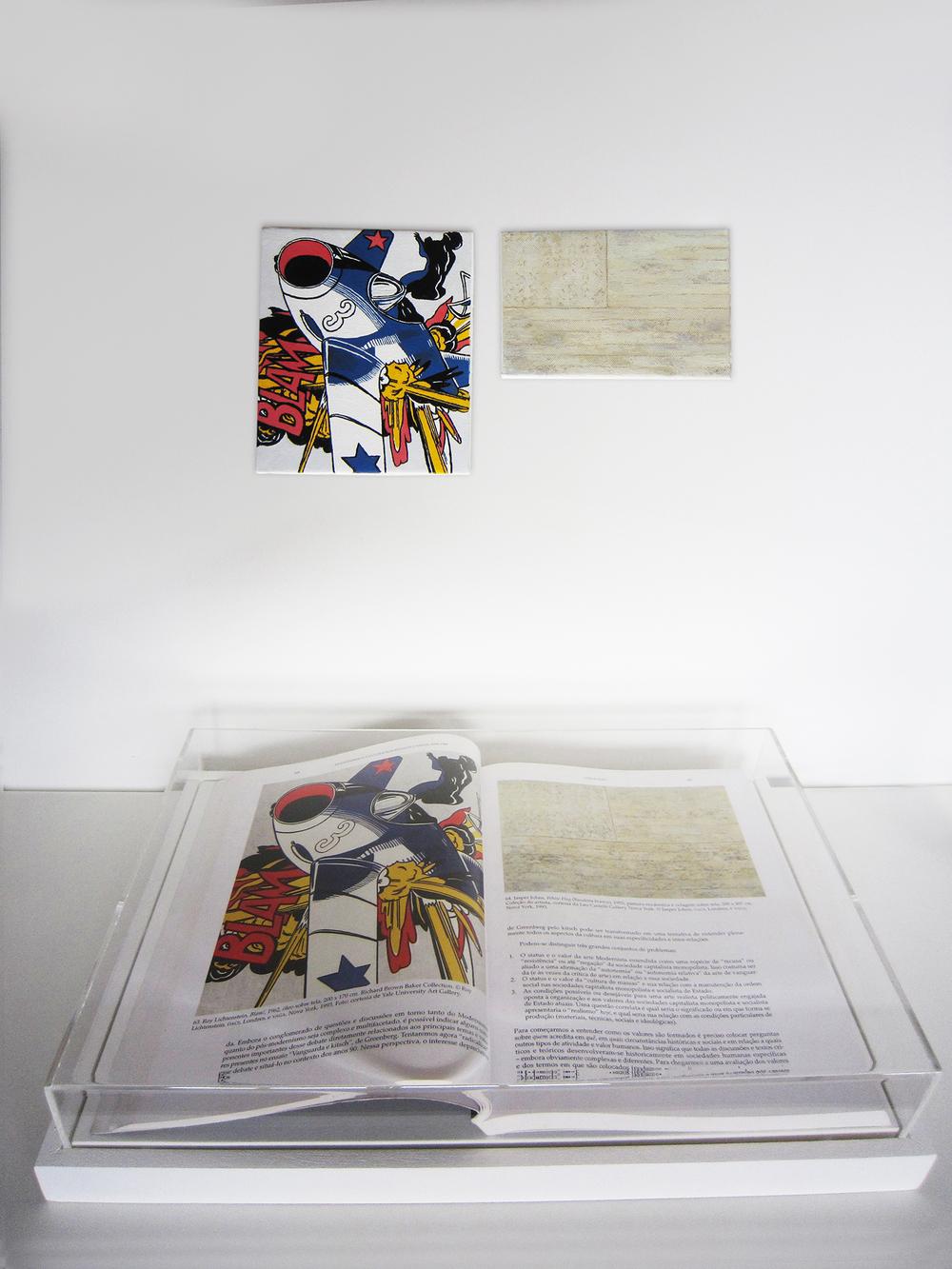 Páginas 68 e 69 (Série Foi Assim Que Me Ensinaram) •2012 •Livro emoldurado, óleo sobre tela •28,6 x 41,7 cm (livro), 18,5 x 15,7 cm, 10 x 16 cm