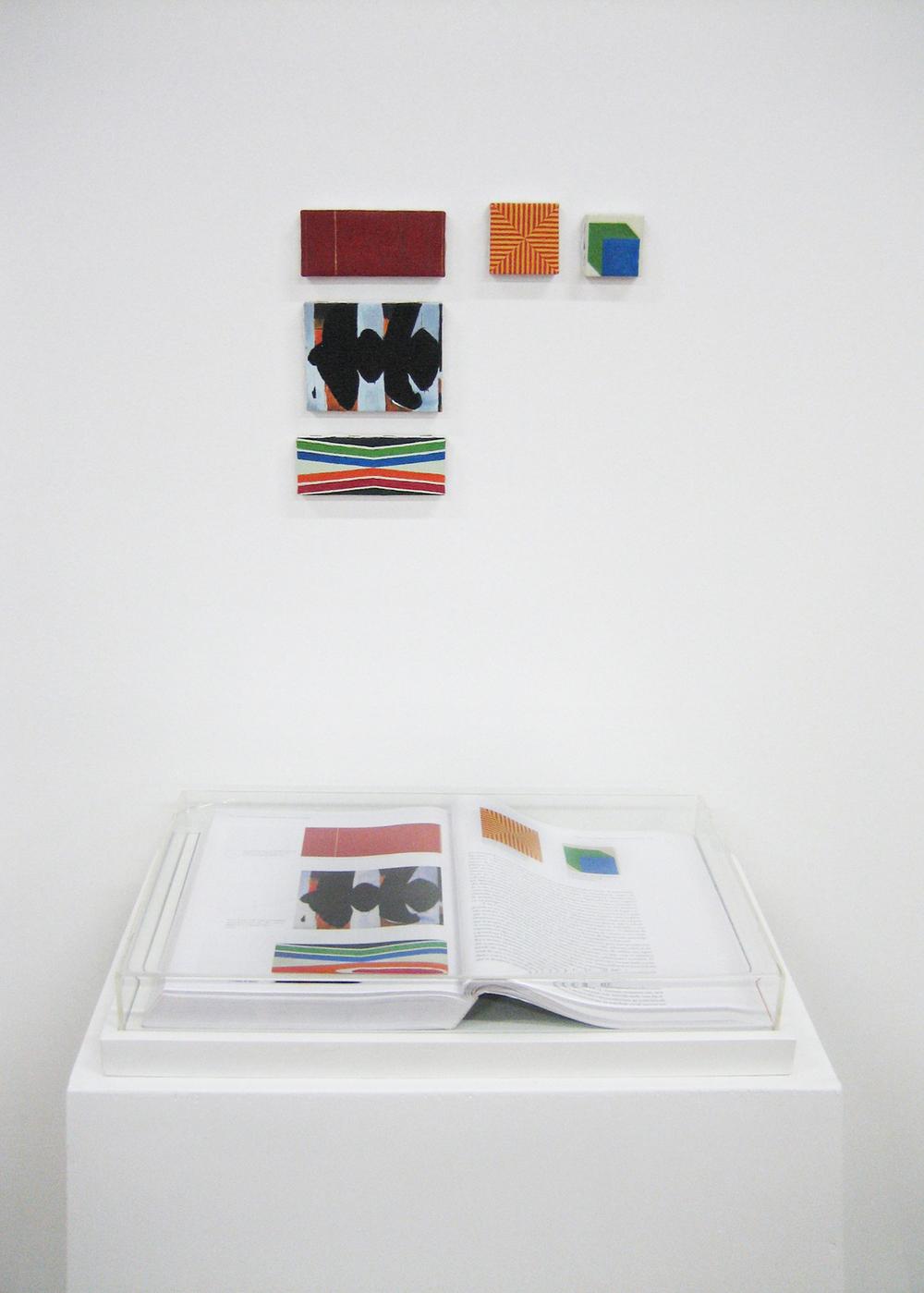 Páginas 572 e 573 (série Foi Assim Que Me Ensinaram) •2005 • Livro emoldurado, óleo sobre tela• 28,5 x 45 cm (livro), 5,5 x 12 cm, 9 x 11,5 cm, 4,8 x 12,2 cm, 5,5 x 5,5 cm, 5 x 5 cm