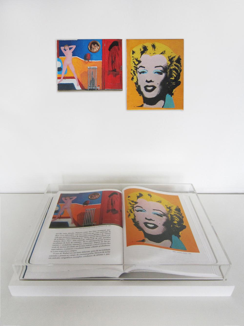 Páginas sem número (Série Foi Assim Que Me Ensinaram) •2012 •Livro emoldurado, óleo sobre tela •23,5 x 34,7 cm (livro), 11 x 14 cm, 16 x 13,3 cm