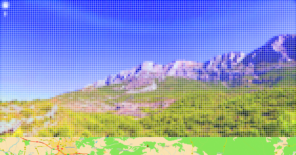 "After Cezanne ""Mont Sainte-Victoire"" (Street View) • 2011 •  Print    on methacrylate • 24.8 x 47.24 in"