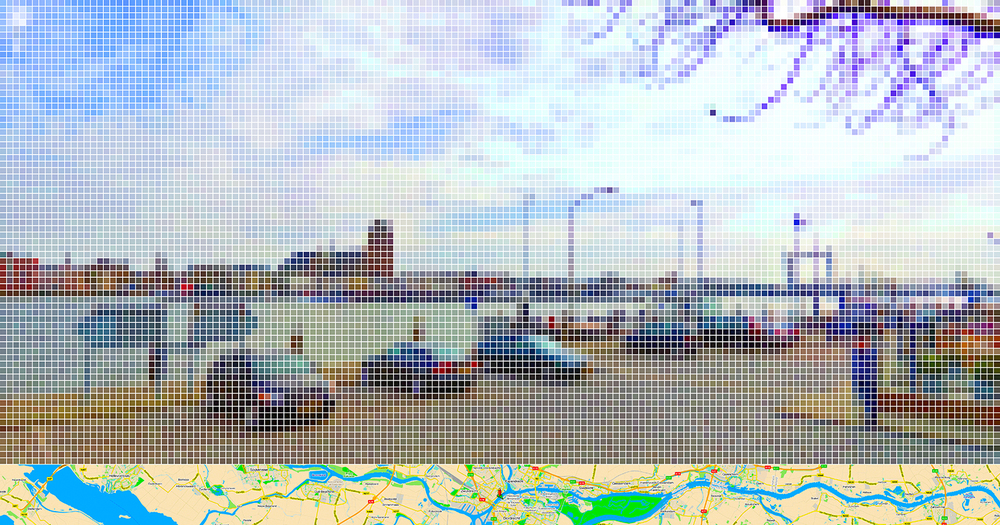 "After Cuyp ""Dordrecht from the North"" (Street View) • 2011 • Print on methacrylate • 24.8 x 47.24 in"