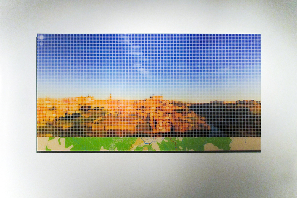 "After El Greco ""View of Toledo"" (Street View)   • 2011 •   Print     on   methacrylate   • 24.8 x 47.24 in"