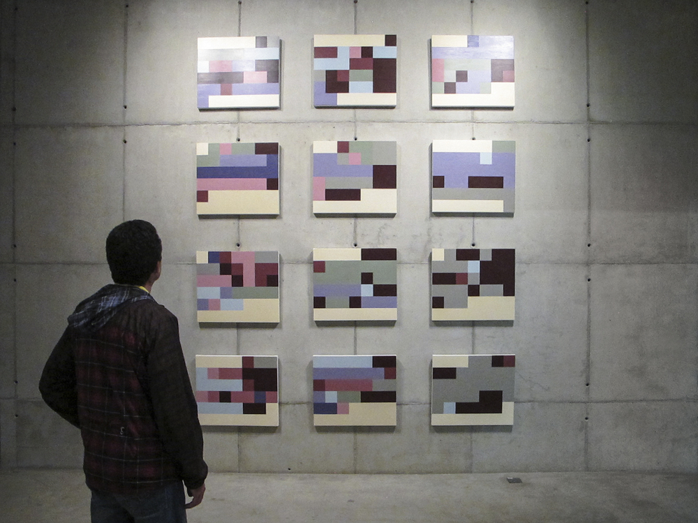 Mood States (Statistical Self-portraits series) • 2012 • 12 acrylics on canvas + artist book • 23.62 x 27.56 in (each)