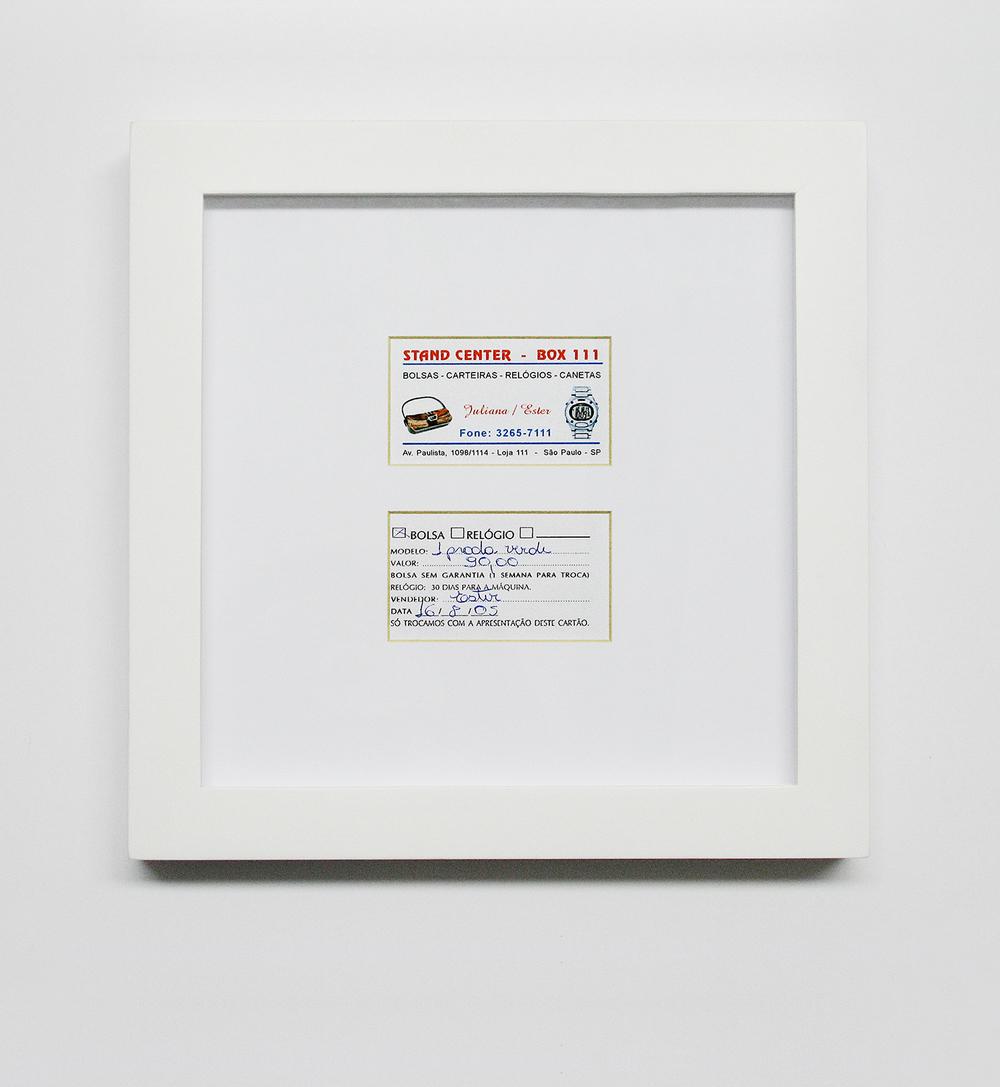 Prada: R$ 90,00 (série O Que Te Seduz) (detalhe) •2003/2004 •Fotografia, impressão digital, recibo de compra •120 x 86 cm, 30 x 30 cm (díptico)