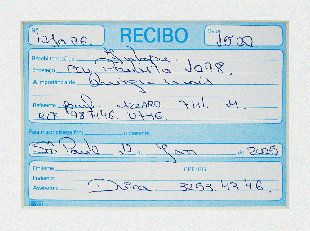 Azzaro: R$ 15,00   (What Seduces You series) (detail) • 2003/  2004 •   Photograph, digital print, sales receipt •     4  7.2   x 38.1   in, 11.8   x 11.8 in (di  pty  ch)   •   MARP Ribeirão Preto Museum of Art collection
