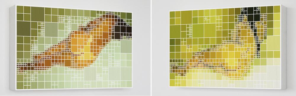 Gessica x Van Gogh •2006 • Fotografia, impressão lenticular •49 x 80 cm• (duas vistas da obra)