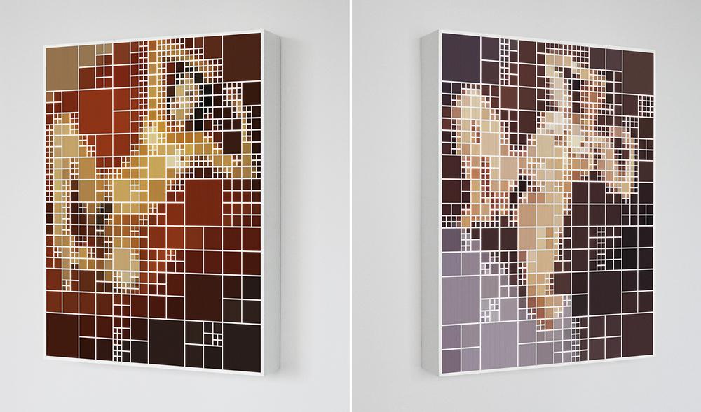Karine x Freud •2006 • Fotografia, impressão lenticular •69 x 80 cm• (duas vistas da obra)
