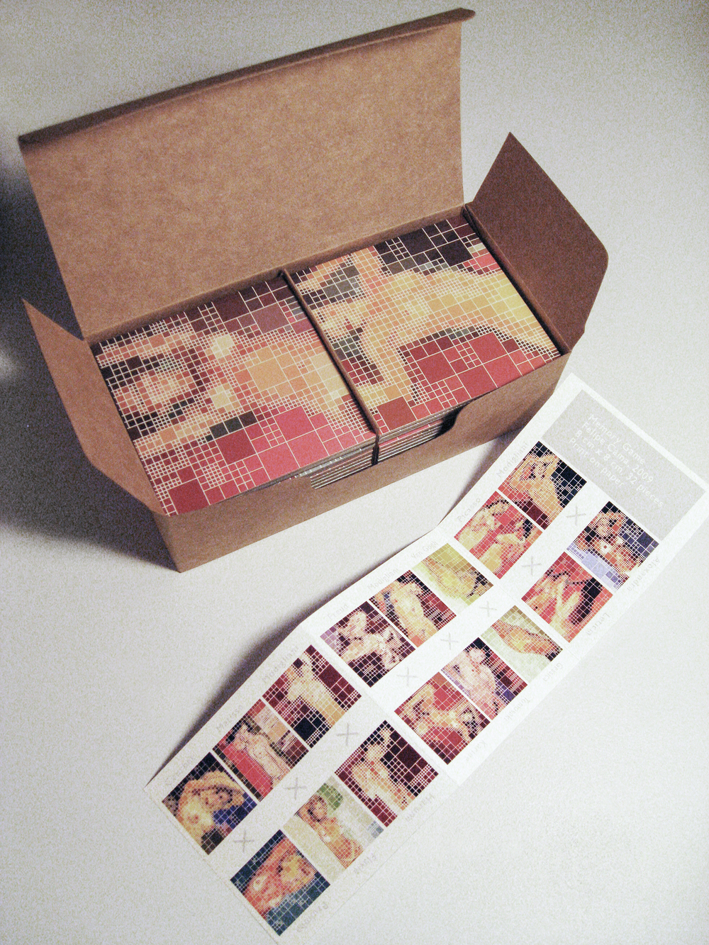 Memory Game • 2009 • 32 pieces printed on paper • 6.5 x 3.1 x 1.9 in (box), 2.9 x 9.4 in (leaflet), 3.1 x 3.1 in (each piece)