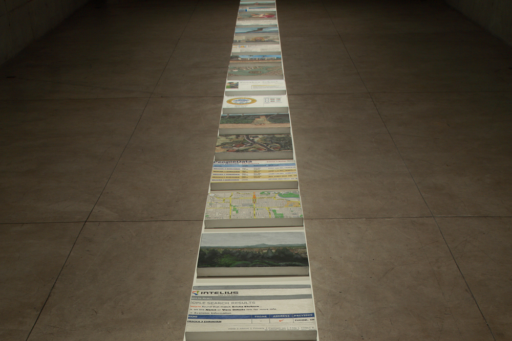 Solo show at Galeria Leme, in São Paulo, May 2009. Just one work,   Search: Ericka  , shows in 35 oil paintings the life of Ericka   through information found on searches for her name on Google  .