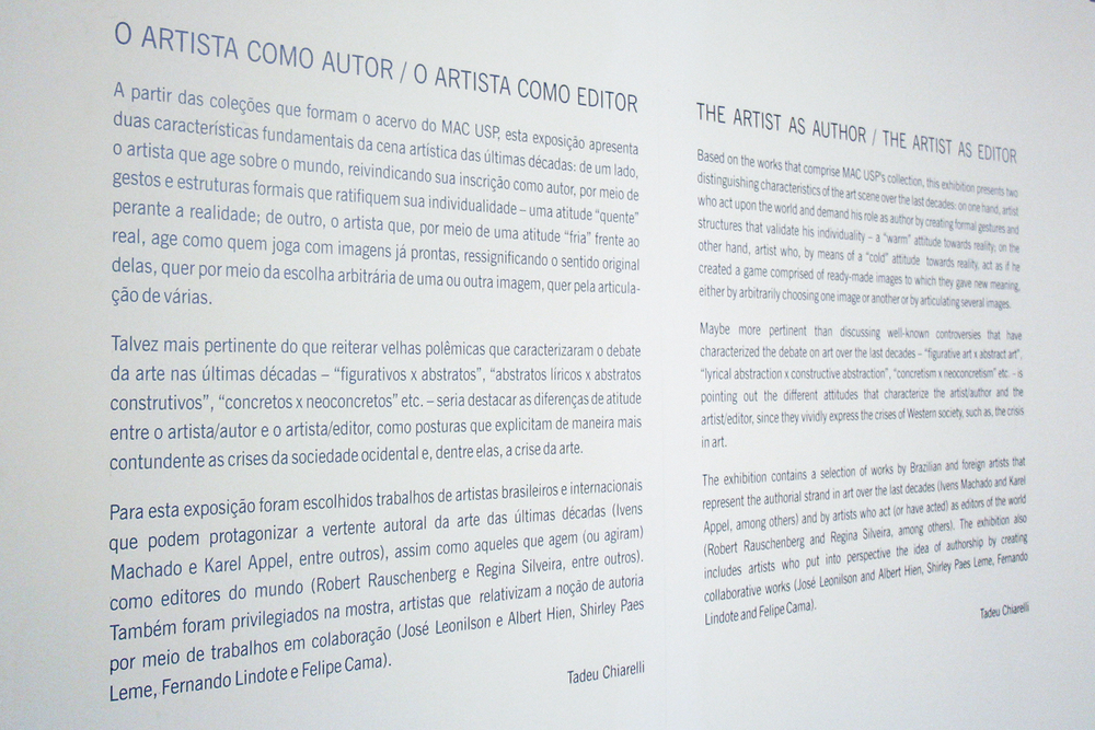 The Artist As Author/The Artist As Editor   group show, at the Museum of Contemporary Art -   MAC/USP  , São Paulo, June 2013. Curatorship by Tadeu Chiarelli.