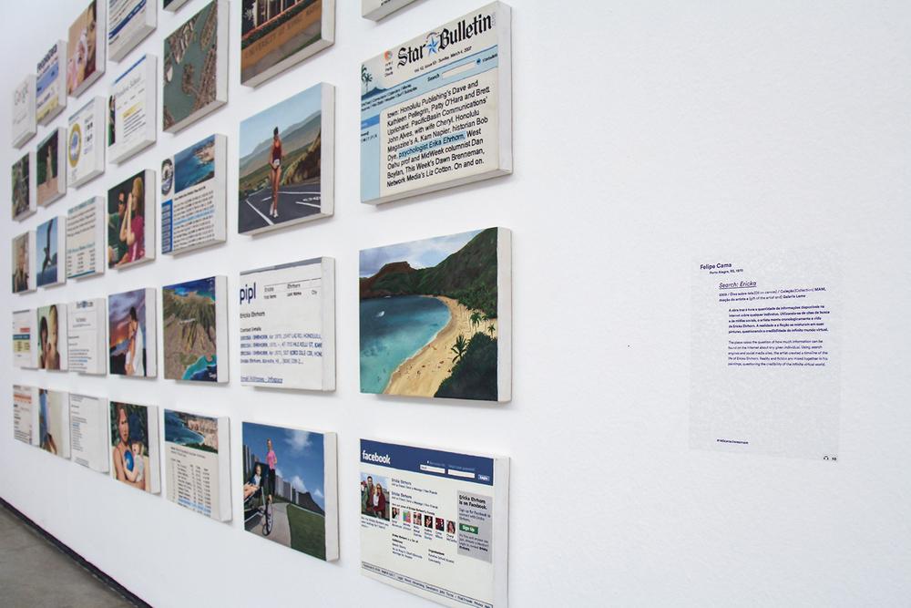 Exposição coletiva  140 Caracteres  ,no MAM - Museu de Arte Moderna deSão Paulo, em janeiro de 2014. Curadoria doLaboratório de Curadoria MAM, coordenação de Felipe Chaimovich.