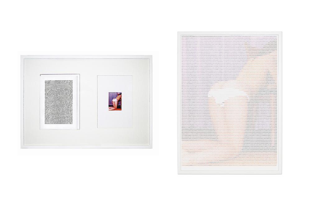 Uma e Três Fotos (After Kosuth)•2003 • Fotografia, impressão digital, 4 folhas de papel fotográfico A3, 124 folhas de papel A4 com código binário impresso •50x 73 cm, 81x 58 cm