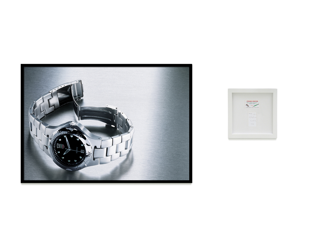 Tag Heuer: R$ 35,00   (What Seduces You series) •   2004 •   Photograph, digital print, sales receipt •     31.5 x 47.2   in, 11.8   x 11.8 in (di  pty  ch)