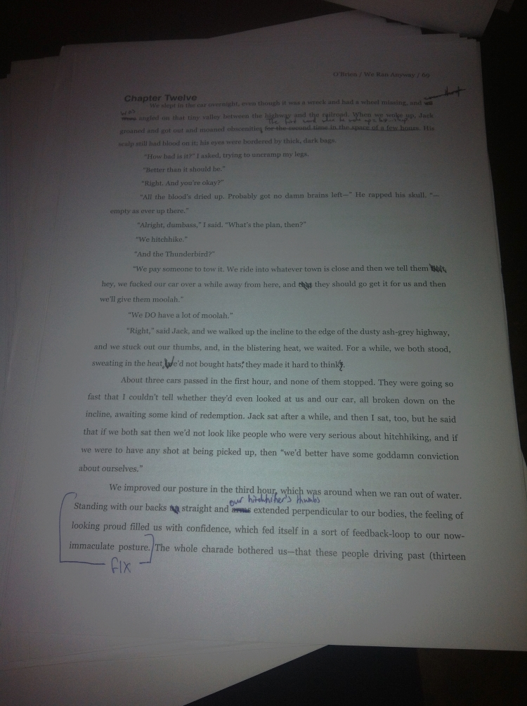 A page with a modest/small number of edits on it. And this is the fourth draft.