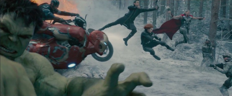 Just outside the frame, Hulk is holding a selfie stick.