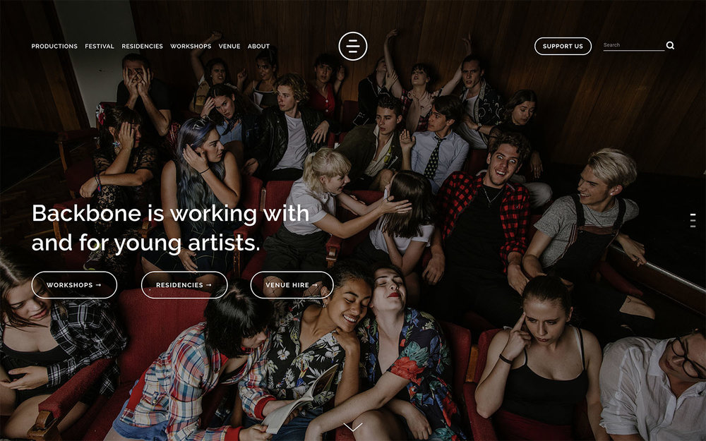Backbone Youth Arts - Youth-focused performing arts organisation and venue.Site designed & launched May 2018.
