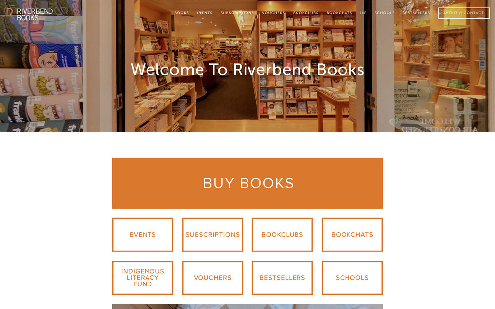 Riverbend Books - Independent bookstore.Site designed & launched October 2016.