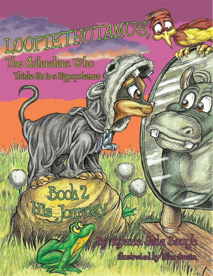 Loopiethotamus has now found himself living with his hippopotamus family. When he was taken home by Mama Hippopotamus in Book 1 he was a little baby. Now his sister and brother are telling him that he doesn't look like them. Loopiethotamus is dealing with the difficulties of not fitting in. However, through Mama Hippopotamus' unconditional love for Loopiethotamus, she comforts him by making him understand that he does look like all of them. She eases his insecurity. Loopiethotamus believes he is a true hippopotamus.