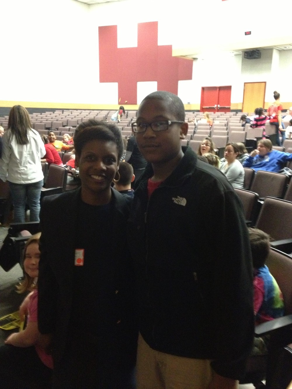 Caroline County Middle School 9th Annual Family Fair on 031613 Quandre my PowerPoint and Projector Helper and I.jpg
