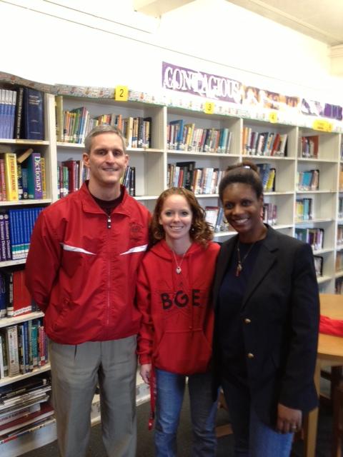 Principal Jeff Wick, Librarian Jillian Summerlin HuppPolla and I at BGE Author Visit 030113 2.jpg