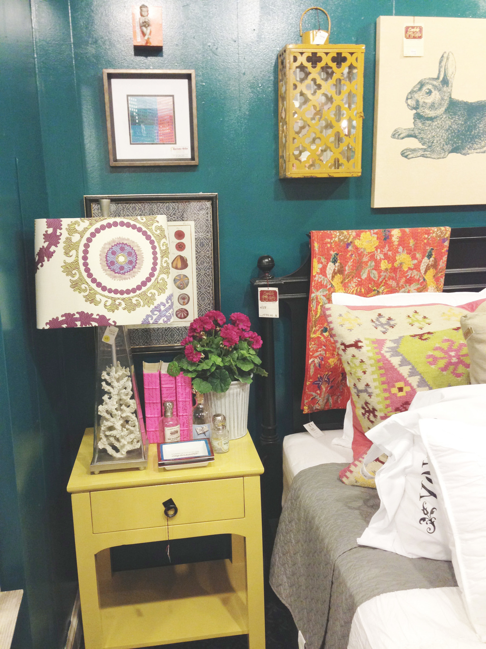 Similar Yellow Accent Table, Coral Lamp Base, Boho Kilim Pillow, Suzani Lamp Shade, Ceramic Lantern, Red Kantha Blanket