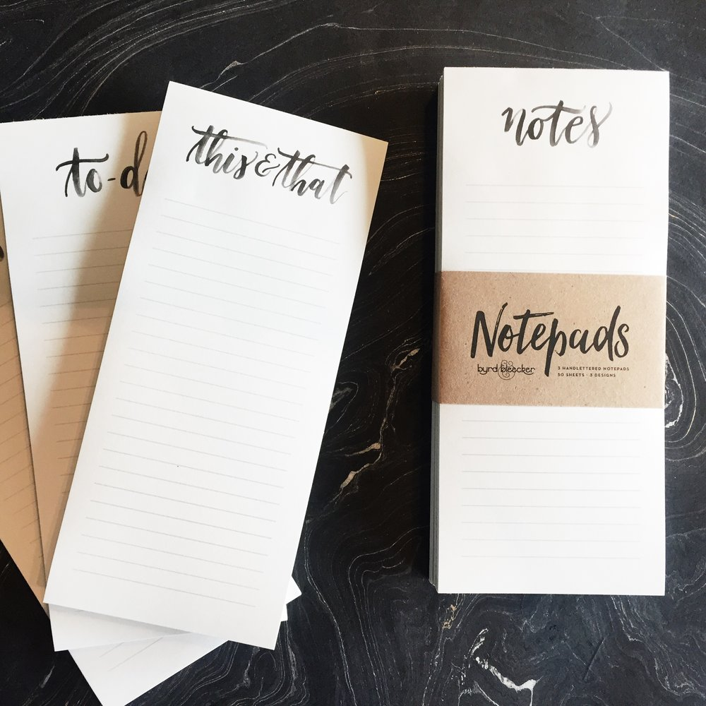Byrd & Bleecker Notepads - Hand Lettering - Design - Packaging