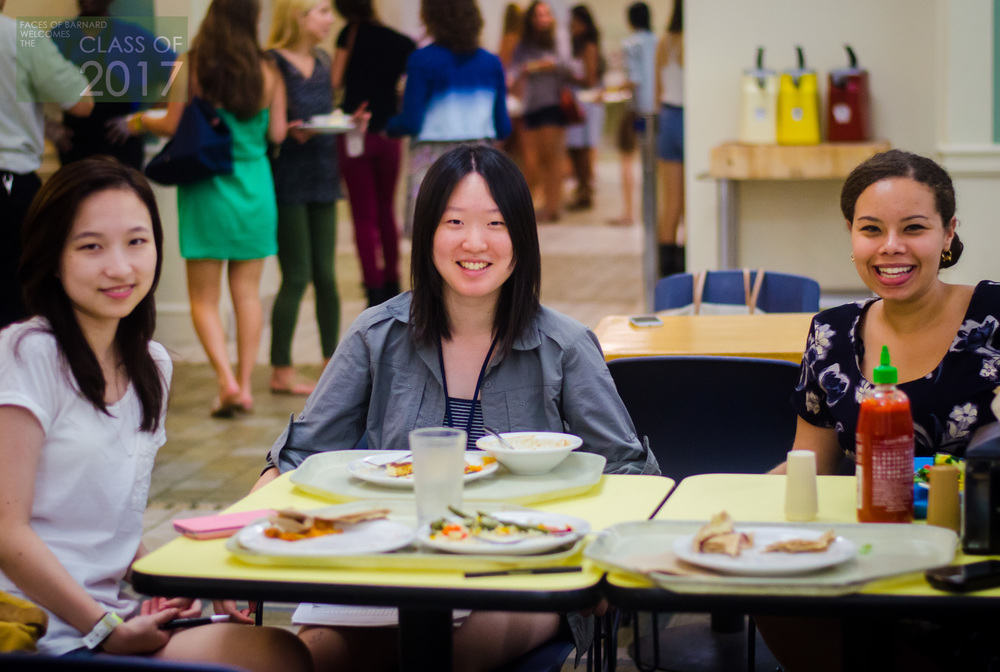 "Alex (left), from Westchester, Michelle (center), from Shanghai, and Sophia (right), from Staten Island, were enjoying Hewitt lunch when we found them on a rainy afternoon. The group had bonded during an NSOP event at alma mater when the shirtless cross country team ran by, shouting words of support and encouragement to the first-years. None of the girls plan to join the shared any plans to join a sports team, but Alex hopes to get involved with LGBTQ clubs and Spectator, whereas Michelle is looking forward to internships at magazines. Off campus, Michelle is looking forward to the food scene - especially Crumbs, that has ""the biggest cupcakes I've ever seen!"" - but Sophia, from nearby Staten Island, is just excited for the easier and more efficient public transportation of Manhattan, noting how easy it was for her and some friends to go see a movie downtown. Alex  plans to spend her first moments at Barnard exploring the campus, and Michelle is doing her best to relish how everything is in the city is so open and accessible. ""Everything is around you, it's all together,"" she said. Alex plays piano and violin, and will explore her on campus options in the arts, but she also loves to write and draw, which might lead to her majoring in  English or Visual Arts. Michelle enjoys Japanese anime books, and has actually worked on translating many of them. Sophia's academic interests and personal interests overlap - a lover of the US Constitution, she carries a mini copy around in her purse (which she reads at least once a month), and hopes to become a Supreme Court Justice one day. She loves learning about the Founding Fathers and process of creating a nation, and has a soft spot for Article 5 and the process of creating amendments. But she's most looking forward to to moving from the predetermined class requirements in high school to studying what she loves and ""the freedom to choose"" here at Barnard."